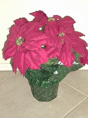 "Artificial Potted Red 15"" Poinsettia Plant Christmas Holiday 5 Flowers"