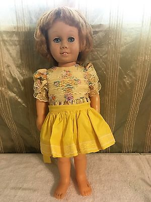 Vintage CHATTY CATHY Blonde Doll w/ Beautiful Yellow Dress - Talks