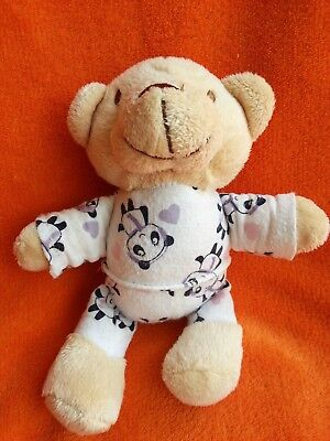 "Matalan Small Beige Teddy Bear Soft Toy in Panda PJ's Baby Comforter 7.5"""