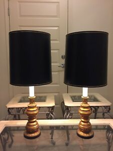 Pretty Black and Gold Matching Lamps.