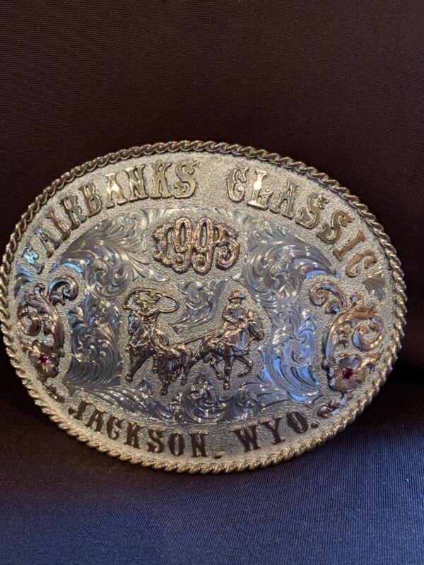 Champion Trophy Rodeo Skyline Sterling Silver 10k Team Roping  Belt Buckle