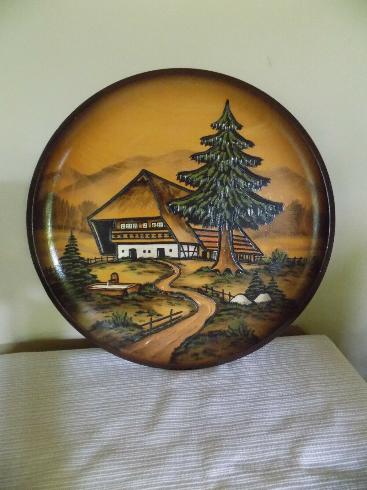 Germany Hand carved Wood Wooden Plate Bavarian Black Forest Scenery Schwarzwald