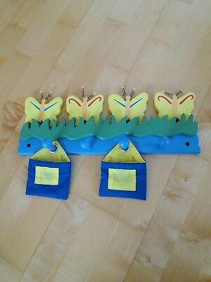 Süßer Kleiderhaken für Kinder aus Holz Schmetterlinge Haken Aufhängen blau-gelb  ()