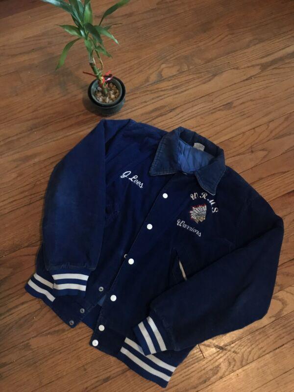 Vintage Varsity Jacket Royal Blue Corduroy Sz. Small