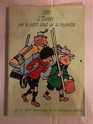 Calendrier L'Europe Quick Et Flupke Schtroumpfs Hergé Peyo 1988