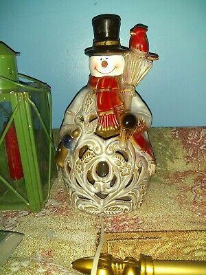 """Ceramic Heart Cardinal Bird Light Up Snowman 10"""" Holding a Broom"""