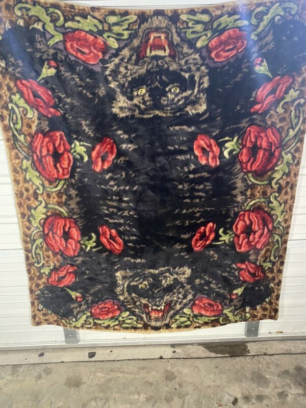 Antique Rare Wool Mohair Carriage Blanket Lap Blanket Tiger With Glass Eyes