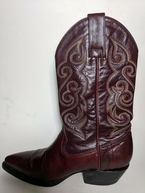 Pistolero, Red, Leather, Lizard, Skin, Cowboy, Boots, Men, Sz, 6.5, US, EUC