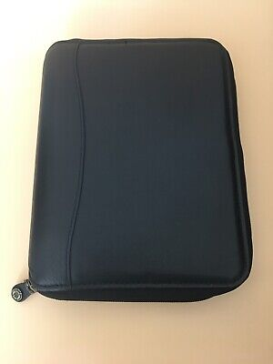 Black Classic Zip 7 Ring Genuine Leather Planner Binder Franklin Covey 8 X 10