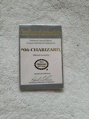 1999 Pokemon Charizard 23k Gold Plated Card - With C.O A.