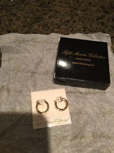 Fifth Avenue Gold tone and crystal stone earnings