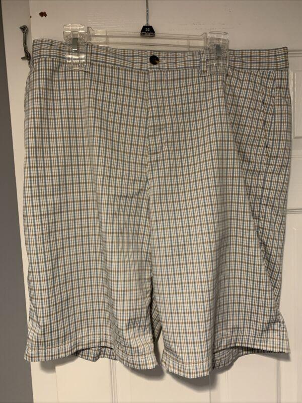 Adidas Golf Shorts Plaid Cotton Stretch Flat Performance Athletic Mens Size 36