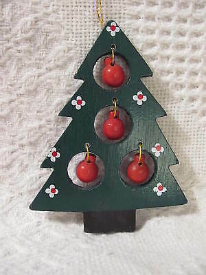 "Christmas Ornament, 4"" wooded tree with ball ornaments"