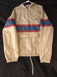 Vintage Izod Lacoste Windbreaker Pullover Rain Jacket Medium Packable Retro