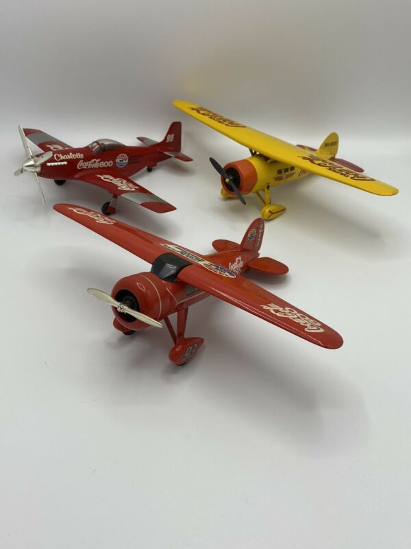 Vintage Lot Of 3 Coca Cola Die Cast Metal Bank Airplanes Pre-owned Rare For 3!!