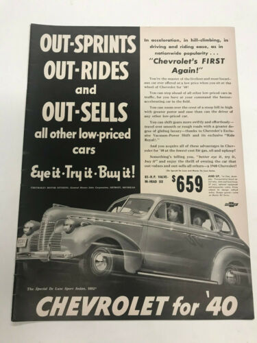 1940 Chevrolet Automobile vintage  advertisement  ad