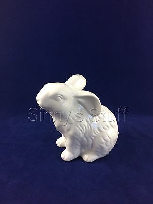 NIB Pottery Barn White Ceramic Sculpted Garden Small Bunny Figure Easter Rabbit