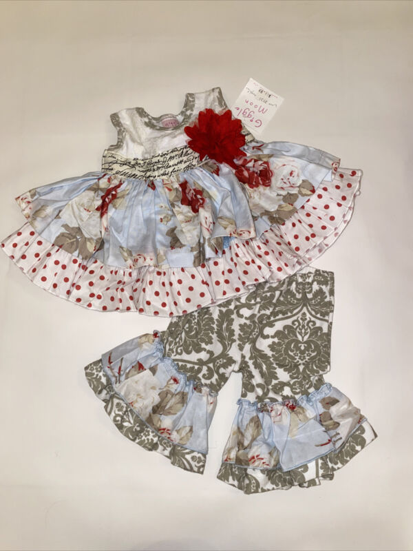 NWT Giggle Moon🌷Baby Girl Outfit Dress And Pants Sz 3 Months NEW