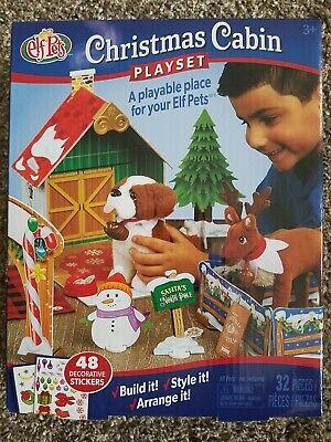 Elf on the Shelf Pets Christmas Cabin Playset Deer St. Bernard NEW in Box