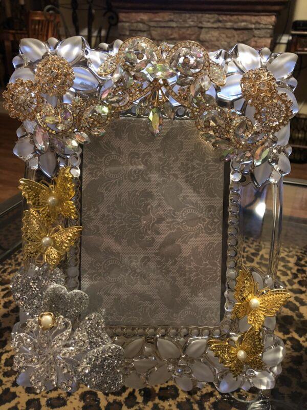 Wedding frame Vintage Glass Ornate Crystals Rhinestones Butterflies Elegant