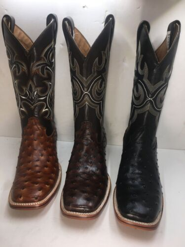 Mens, Cowboy, Rodeo, Boots, Ostrich, Print, Leather, Western, Black, Brown, Honey, Square