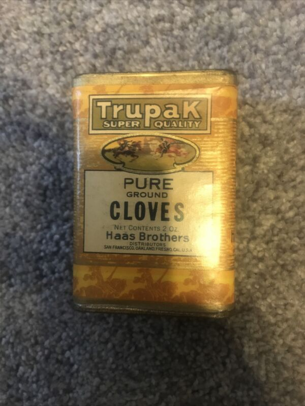 Vintage Spice Tin Trupak super quality Cloves Haas Brothers