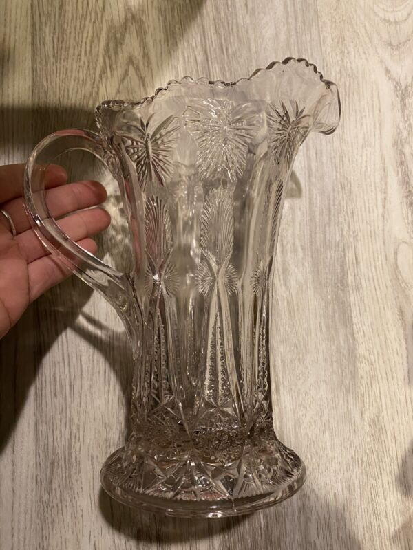 Pressed Glass Pitcher Creamer with Butterflies Early 1900's