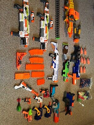HUGE NERF GUN LOT! 15 Guns! Huge Guns With TONS OF BULLETS- Lots Of Ammo Holders