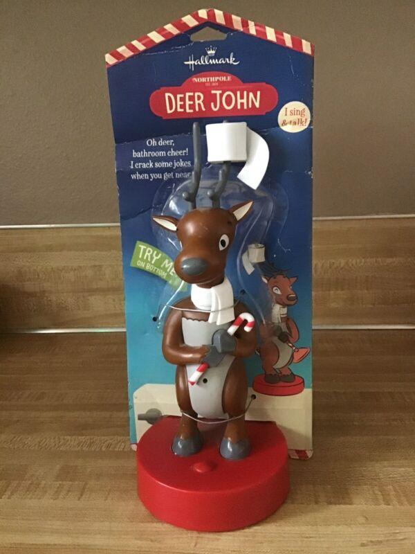 Hallmark Northpole Deer John Reindeer Bathroom Motion Singing Talking Jokes READ
