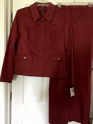 Alfani Womens Size 10 Pants Suit Cape Horn Sunset Career Wear Fully Lined
