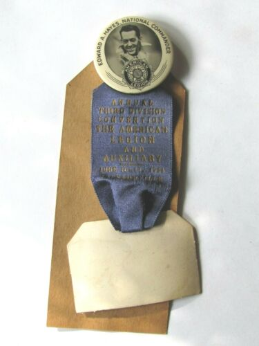 1934 BUTTON TOP RIBBON CONVENTION THIRD DIVISION AMERICAN LEGION JACKSONVILLE