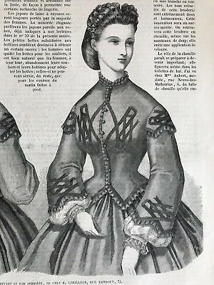 Year 1863 - MODE ILLUSTREE SEWING PATTERN Sept 21,1863 - CORAGE VESTE