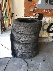 Truck tires.