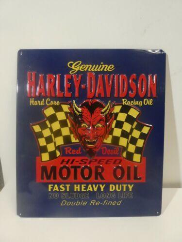 Harley Davidson Red Devil Motor Oil Embossed Metal Advertising Sign