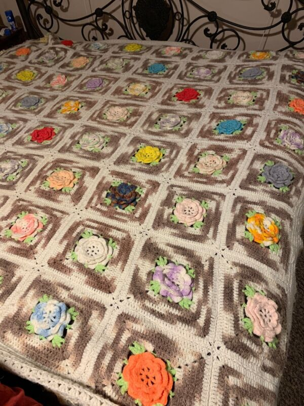 Antique Crochet Granny Square Afghan Blanket Handmade Raised Flowers 105 x 95""