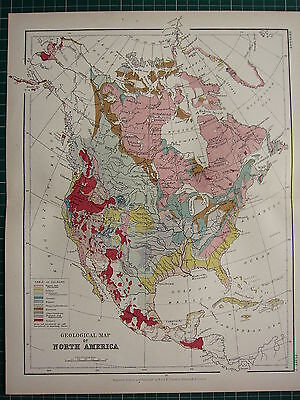 1892 VICTORIAN MAP GEOLOGICAL NORTH AMERICA CRETACEOUS VOLCANIC TRIASSIC MEXICO