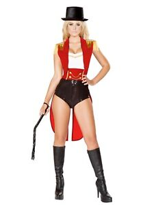 Sexy Women's Halloween Lion Tamer Costume Red Black Velvet Small