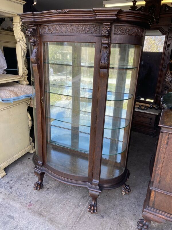 R.J.HORNER CARVED OAK GRIFFIN CHINA CABINET