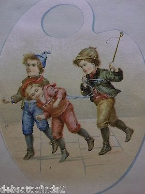 Blank Victorian Trade Card Scrap-Playful Street Boys on Palette-Hats-Whip-1800's