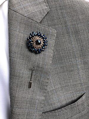 Bead Lapel Pin Flower Gold and Blue Wedding Boutonniere Rhinestone Brooch pin - Blue And Gold Wedding