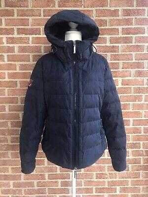 Superdry JPN Women's Jacket Coat SDX Arctic Hoodie Puffer Navy Blue Sz 12 Medium