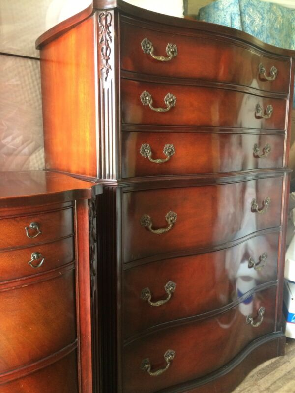 Beautiful Antique Mahogany Dresser And Chest Shipping Ok
