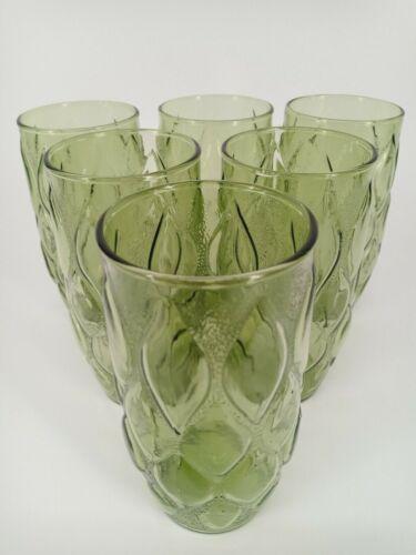 Retro Glasses Vintage Anchor Hocking Lot Of 6 Avocado Green Madrid Tumblers 12oz