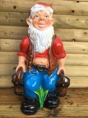 LARGE Gnome Carrying Water Statues Garden/Patio/Lawn Ornament Resin 74 cms