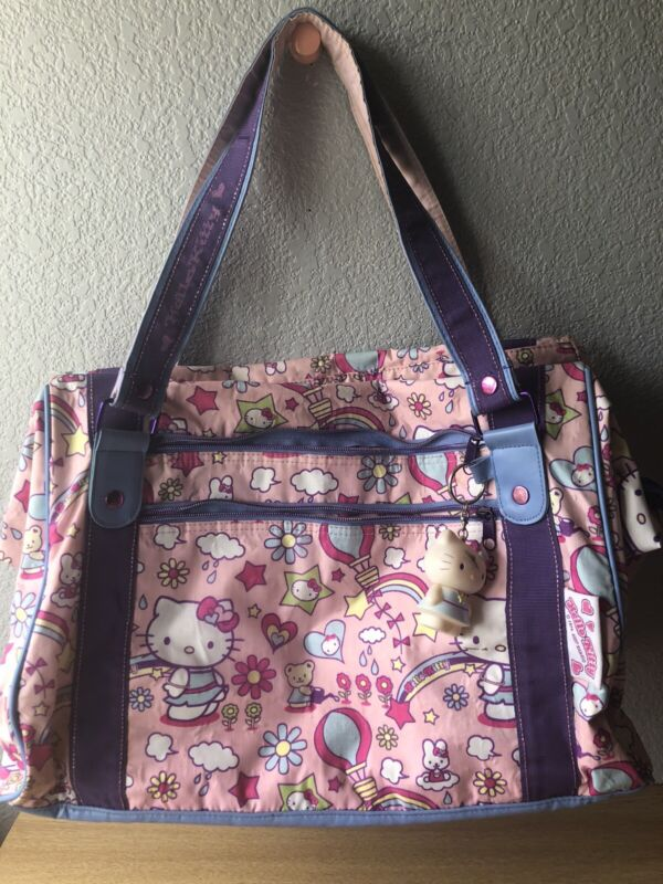Vintage 2007 Hello kitty Travel Expandable Bucket Style Rainbow Bag