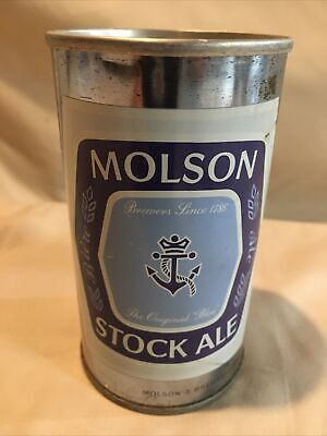 Vintage MOLSON STOCK ALE Beer Can Push Top, Bottom Opened, Straight Steel! NEAT!