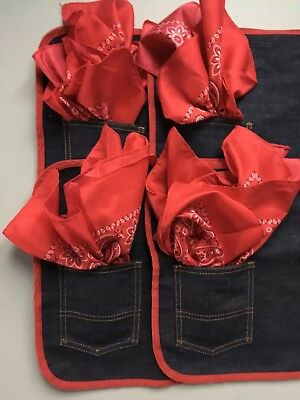 4 Denim Placemats Bandana Napkins Blue Red BBQ Western Americana Jeans Table Set