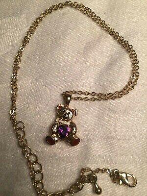 Feb. Teddy Bear Birthstone Pendant Children's Necklace w/Teddy Bear Shaped Box ()