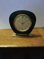 Vintage Elgin Alarm Desk Clock Teak Wood