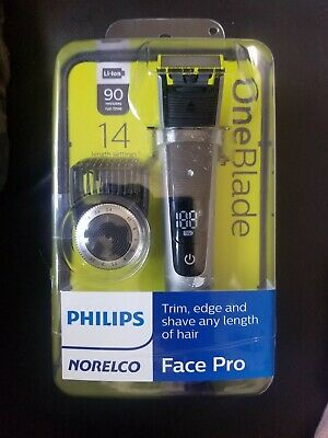 Philips Norelco QP6520/70 Oneblade Face Pro Electric Trimmer & Shaver 14 Setting